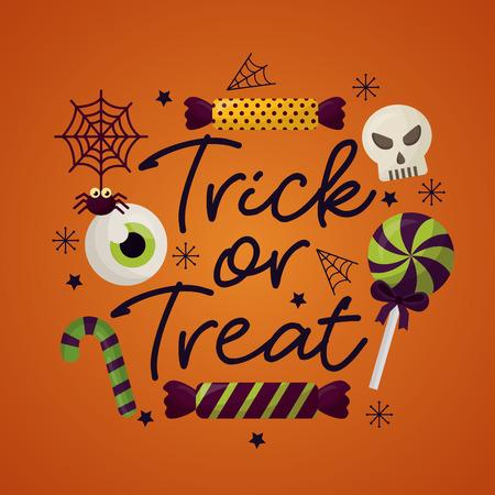 happy halloween celebration day trick or treat candys skull lollipop spiderweb vector illustration