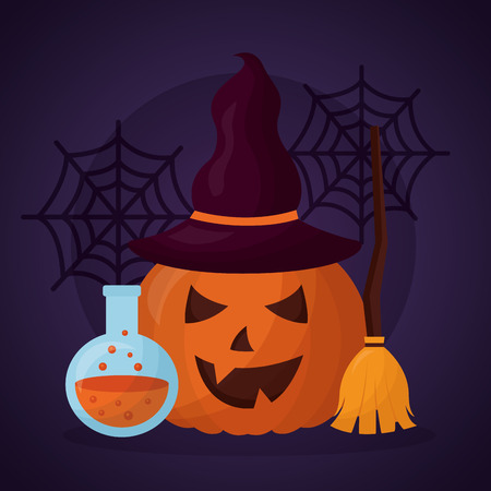happy halloween day potion pumpkin smiling broom spiderwebs vector illustration