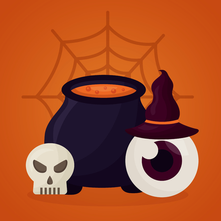happy halloween day boiler potion witch hat skull vector illustration