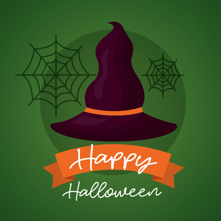 happy halloween day witch hat spiderweb ribbon sign vector illustration