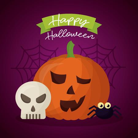 happy halloween day skull spider pumpkin smiling vector illustration