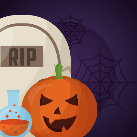 happy halloween day rip tomb potion pumpkin creepy vector illustration