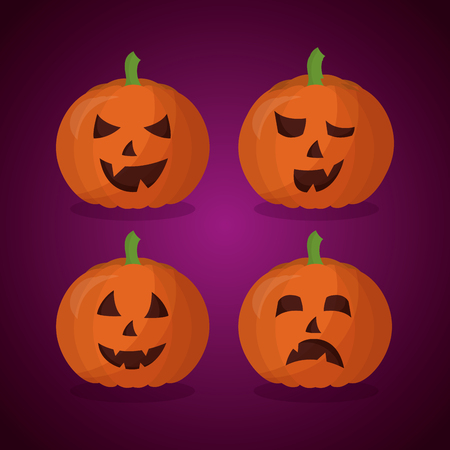 happy halloween day pumpkins making gestures background vector illustration