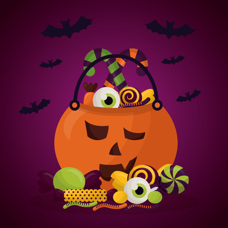 happy halloween celebration day pumpkin candys bats vector illustration Illustration