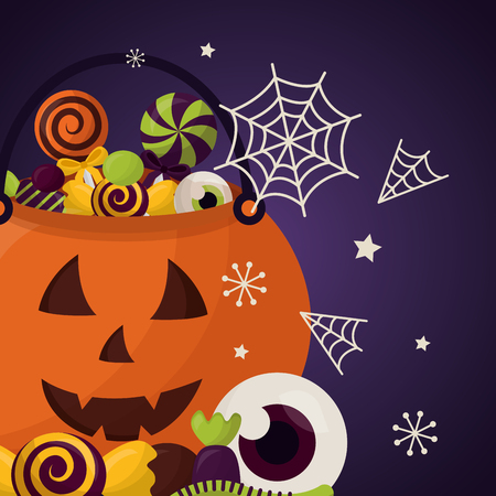 happy halloween celebration day pumpkin candys spiderweb eye sweet vector illustration