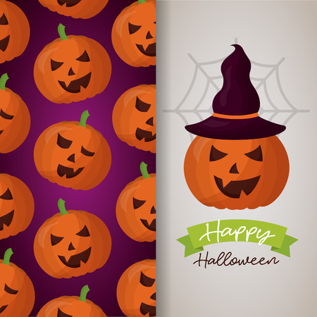 happy halloween day banner pumpkins witch hat ribbon sign vector illustration