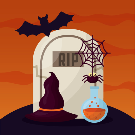 happy halloween day bat cemetery tomb spider witch hat vector illustration