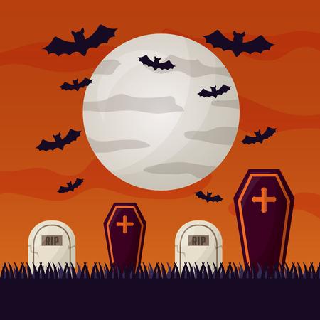 happy halloween day moon bats cemetery tombs vector illustration