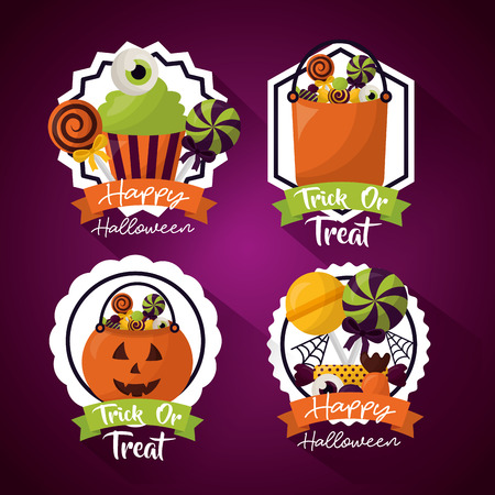 happy halloween celebration day stickers cakes candys bags vector illustration