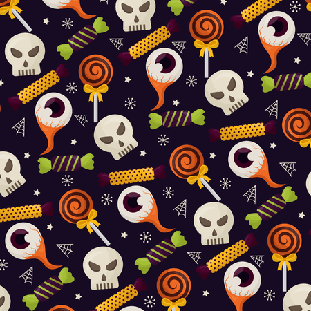 happy halloween celebration day skulls candys lollipops eyes sweet vector illustration