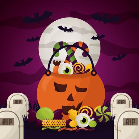 happy halloween celebration day pumpkin bats cemetery creepy vector illustration