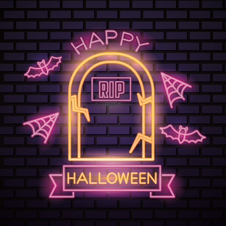 happy halloween celebration neon rip tomb spiderweb ribbon sign vector illustration