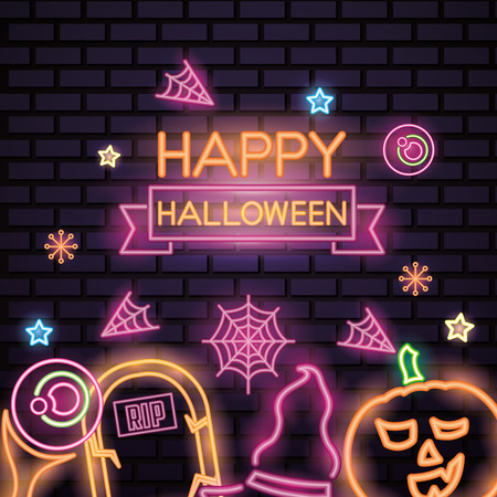 happy halloween celebration tomb pumpkin witch hat eye stars candys neon style vector illustration Stock Vector - 110085838