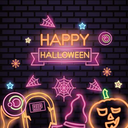 happy halloween celebration tomb pumpkin witch hat eye stars candys neon style vector illustration Illustration