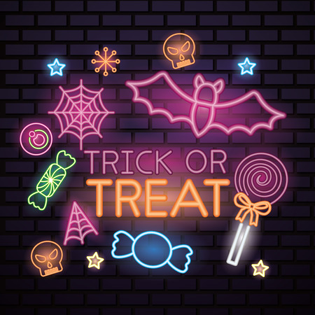 happy halloween celebration bat stars candys trick or treat lollipop sweet vector illustration