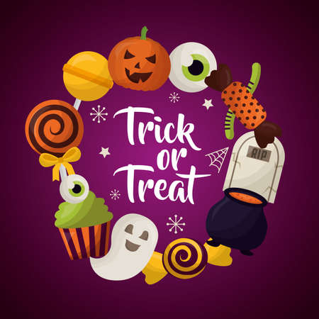 Feliz día de celebración de Halloween truco o trato fantasmas caramelos piruletas ilustración vectorial Ilustración de vector