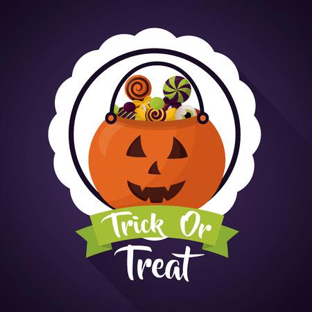 happy halloween celebration day sticker pumpkin candys vector illustration