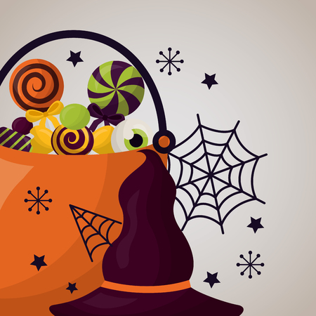 happy halloween celebration day witch hat candys bag spiderweb vector illustration