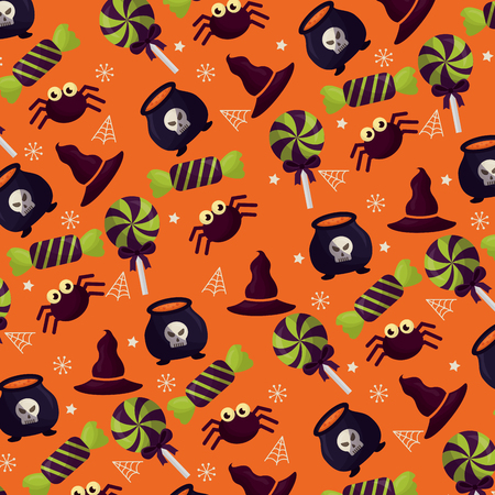 happy halloween celebration day candys boilers spiders vector illustration Illustration