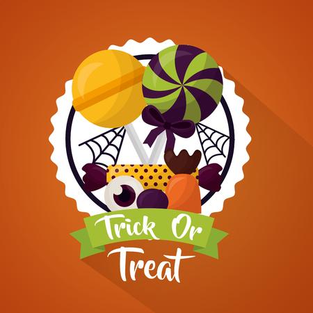 happy halloween celebration day sticker candys eye lollipop vector illustration Illustration
