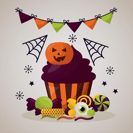 happy halloween celebration day pennants spiderweb cake vector illustration