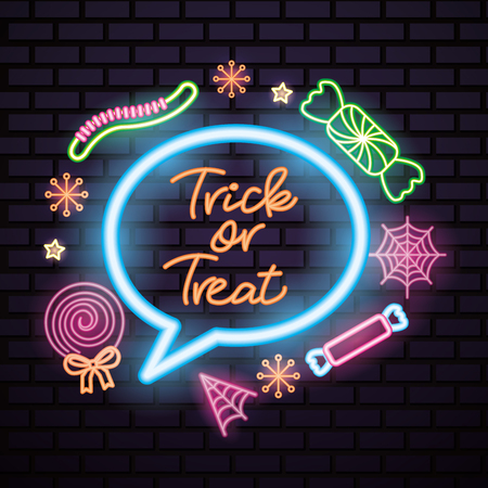 happy halloween celebration bubble neon candys sweet vector illustration