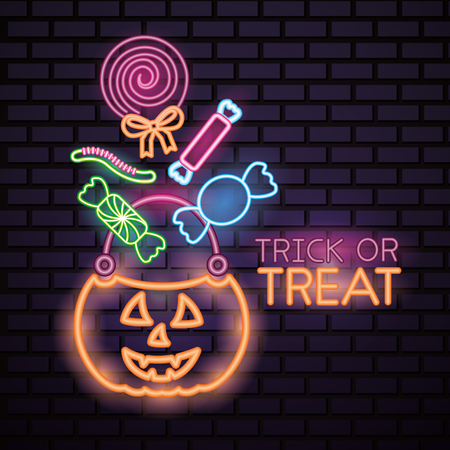 happy halloween celebration pumpkin candy bag lollipop sweet neon trick or treat vector illustration
