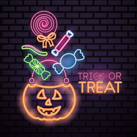 happy halloween celebration pumpkin candy bag lollipop sweet neon trick or treat vector illustration Vector Illustration