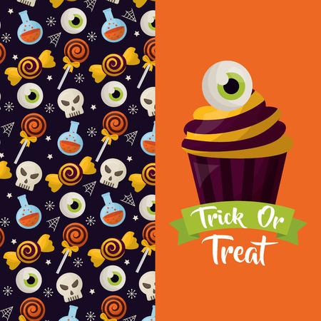 Feliz día de celebración de halloween banner pastel ojo dulce cráneo caramelos ilustración vectorial Ilustración de vector
