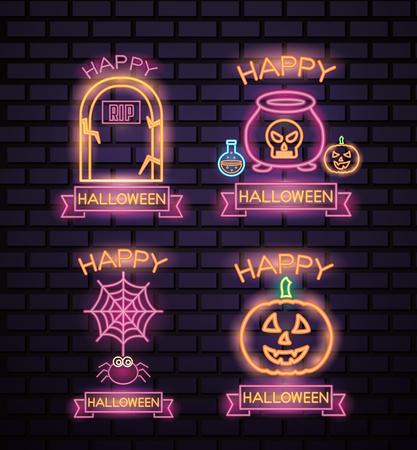 happy halloween celebration stickers creepys pumpkin boiler tomb spiderweb neon ribbon sign vector illustration