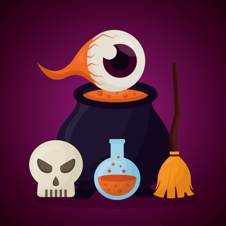 happy halloween day boiler eye potion broom skull danger creepy vector illustration