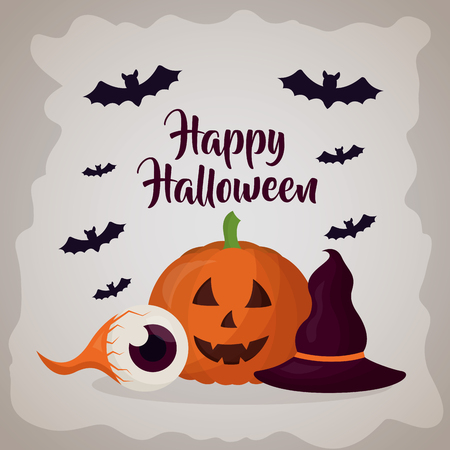 happy halloween day sign bats pumpkin witch hat and eye vector illustration