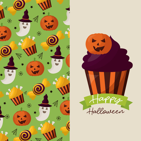 happy halloween celebration day banner pumpkin ghosts candys vector illustration