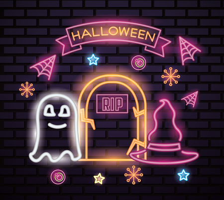 happy halloween celebration ribbon sign neon ghost witch hat rip tomb candys spiderweb vector illustration