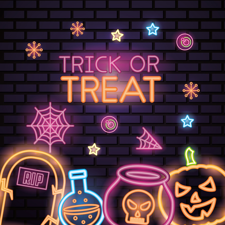 happy halloween celebration trick or treat neon spiderweb candys potion boiler and pumpkin vector illustration