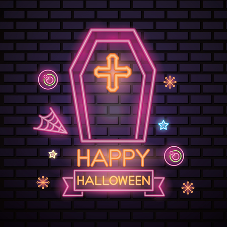 happy halloween celebration stars candys tomb creepy neon style vector illustration