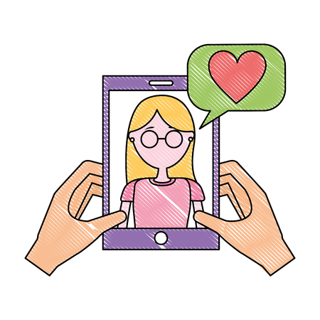 hands holding smartphone with woman talking love vector illustration Illustration