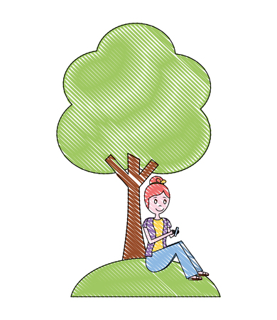 woman using phone sitting in under a tree vector illustration Stock Illustratie