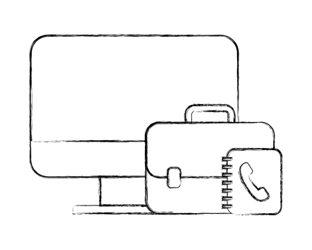 office computer business briefcase book telephone vector illustration hand drawing