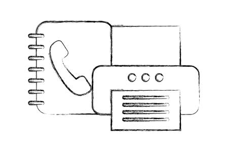 office printer device document book telephone vector illustration hand drawing Çizim