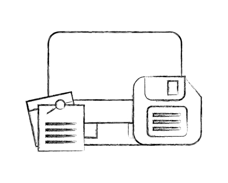 computer floppy disk and notes memo office vector illustration hand drawing Illustration