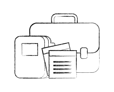business briefcase office folder files vector illustration hand drawing Çizim