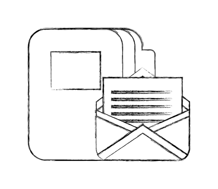 office folder file documents mail correspondence vector illustration hand drawing
