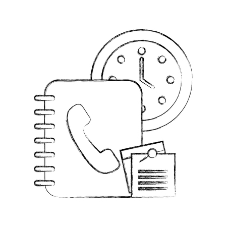 office clock time book telephone notes paper vector illustration hand drawing Illustration