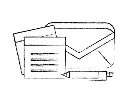 Büro-E-Mail-Notiz-Memo-Stift liefert Vektor-Illustration Handzeichnung Vektorgrafik