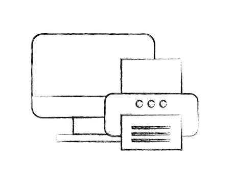 computer printer device technology document office vector illustration hand drawing
