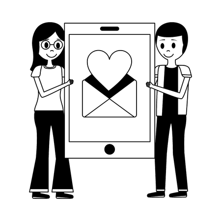 couple holding big smartphone email love hart message vector illustration Stock Illustratie