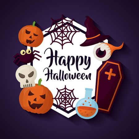 happy halloween day sticker pumpkin potion tomb spiders vector illustration