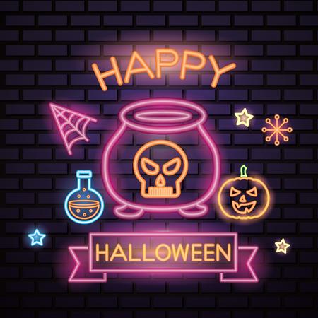 happy halloween celebration neon potion boiler pumpkin stars vector illustration Иллюстрация