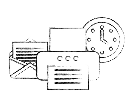 office printer device email clock supplies vector illustration hand drawing